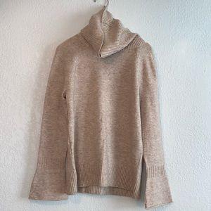 LOFT Cowl Neck Sweater w/Bell Cuff in Oatmeal